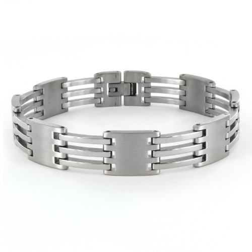 Men's Stainless Steel Alternating Link Design Bracelet