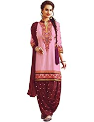 Patiala Salwar Embroidered Cotton Salwar Kameez Suit (Un-Stitched Dress Material)