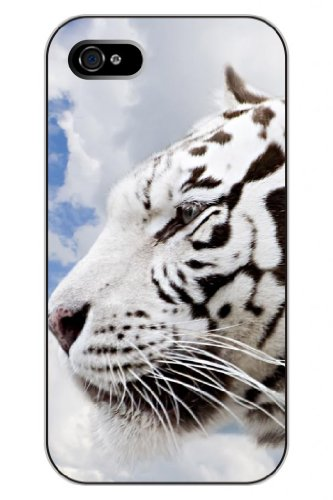 Sprawl Unique Creative Design White Tiger With White Clouds Snap On Protective Cute Animal Iphone 5 5S Case For Teen Girls front-1078896
