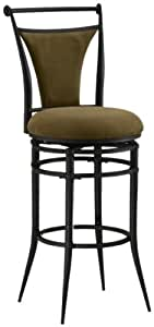 Hillsdale Cierra 30-Inch Swivel Bar Stool, Black Finish with Bear Faux-Suede Fabric