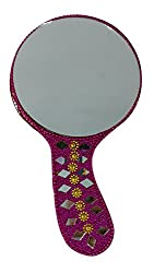 AsiaCraft Decorative Ethnic Handmade Round Shape Pink Beaded Antique Style Vanity Mirror