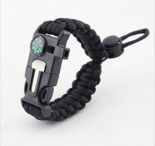 Yan da 5in 1sopravvivenza braccialetto corda da paracadute, 2,5metri, Bussola, Flint Fire Starter pietra focaia, raschietto, fischietto ---- per escursionismo e campeggio emergenza, Black