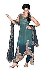 Anvi Creations Blue Pure Georgette Fusion Cut Churidar Dress Material (Blue_Free Size)