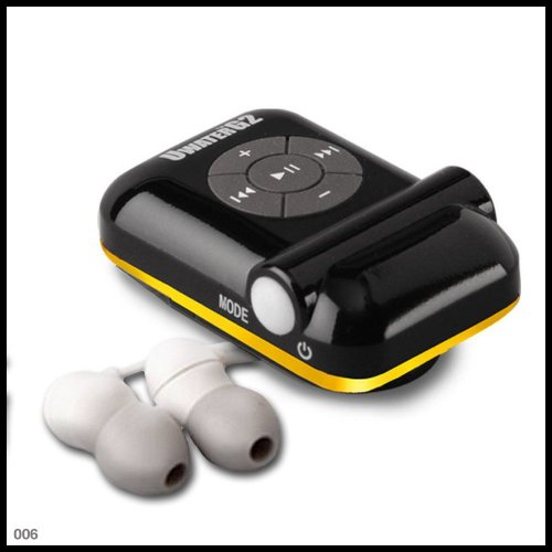 UwaterG2 (Black/Yellow) 100% Waterproof MP3 Player and Earphones