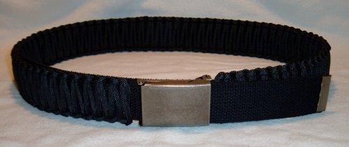 "1 3/4"" Paracord Survival Belt(45ft+ Cord)-Adjustable Flip-Top Buckle-Unisex (Black with Antique Silver Buckle, X-Large/Waist Size 48""-56"")"