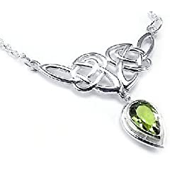 Sterling Silver Celtic Knot Knotwork Necklace with a Bright Green 7x10mm Peridot