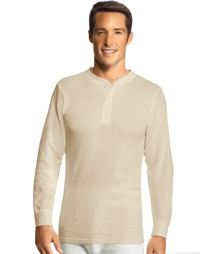 Hanes Men's X-Temp Thermal Longsleeve Henley Top, Natural, X-Large (Men Thermal Henley compare prices)