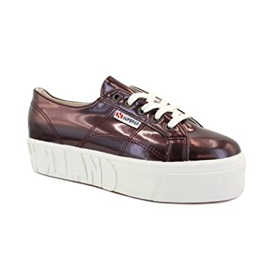 Superga vs House of Holland 2790 Womens Laced Leather Platform Trainers Plum - 8