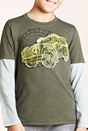 Pure Cotton Mock Layer Car Appliqué T-Shirt [T87-5010J-S]
