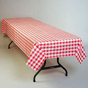 Plastic Table Cloth : Amazon.com: Red Gingham Plastic Tablecloth 100-Foot Roll: Home ...