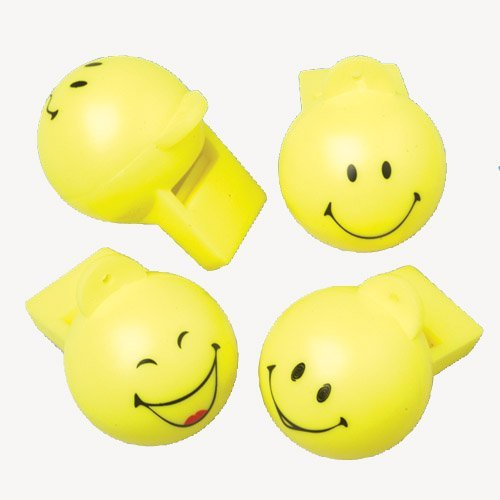 Lot Of 12 Yellow Assorted Smile Smiley Face Design Whistles - 1