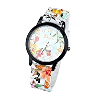 ZPS(TM) 1PC Women Flower Printing Silicone Watch Quartz Red by ZPS