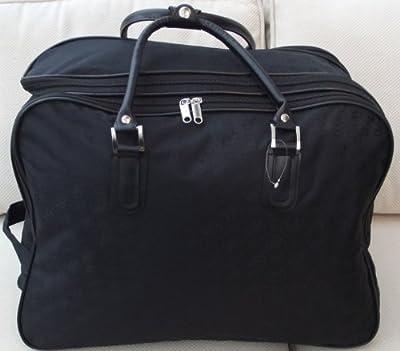 Large black travel bag on wheels. G print design. Luggage trolley holdall. Weekend or overnight bag.