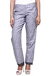 Womens Silver Grey Cotton Trousers