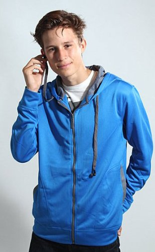 Hoodie Buddie Bright Blue Track Sweatshirt Jacket Mp3 Earbuds Zip Up Headphone (Large)