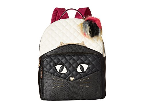 Betsey Johnson Cat's Meow Backpack, Black/Bone (Quilted Backpack Purse compare prices)