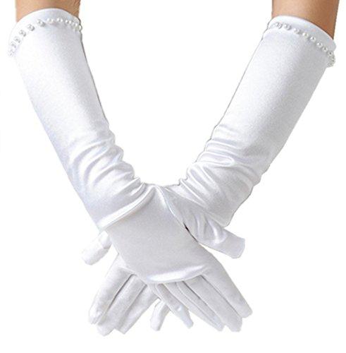 Ever Fairy Girls Classic White Wedding Dress Beaded Gloves