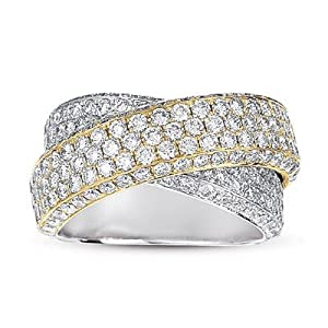 14k Two Tone Diamond Pave Band Ring - JewelryWeb