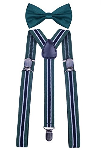 WDSKY Black Leather Suspenders Men's Work Suspenders and Bow Ties Green Black Stripe (Green And Black Bow Ties compare prices)