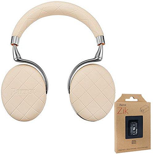 Parrot Zik 3 Wireless Noise Cancelling Bluetooth Headphones (Ivory Overstitched) with Parrot Interchangable Battery for Zik 2 and Zik 3