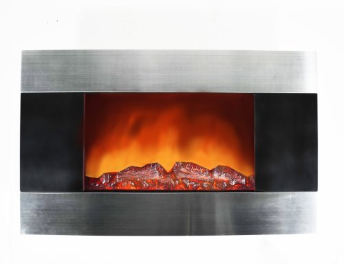 NEW Tempered Glass Wall Mounted Electric Fireplace Heaterw Flame & Logs Effect image B00HFC0JNE.jpg