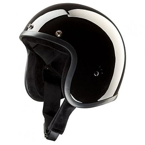 Casque jet compact et homologué Style Bandit Biker Moto Custom Noir brillant L Nero Lucido