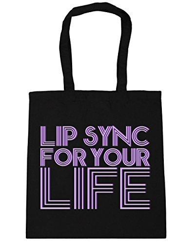 hippowarehouse-lip-sync-for-your-life-tote-shopping-gym-beach-bag-42cm-x38cm-10-litres