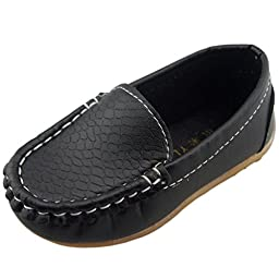 DADAWEN Boy\'s Girl\'s Slip-on Loafers Oxford Shoes Black US Size 5.5 M Toddler