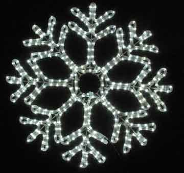 "Novelty Lights, Inc. Led-Sf-242 Christmas Led Rope Light Snowflake, Pure White, 24"" X 24"", Heavy Duty Metal Frame"