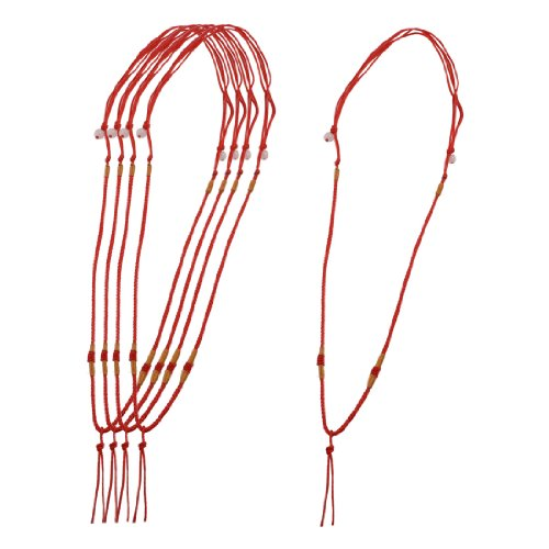 Rosallini 5 Pcs Gold Tone Thread Accent Red Nylon Braided Necklace Strings