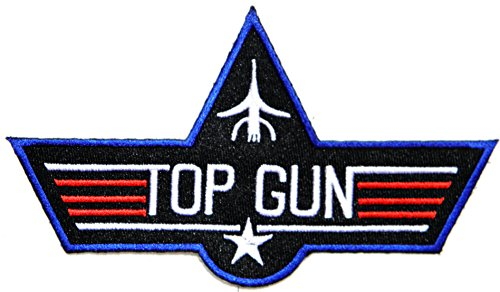 [TOP GUN Pilot USAF US Air Force Army Military Logo Tab Jacket Uniform Patch Sew Iron on Embroidered Sign Badge] (Top Gun Costume Patches)