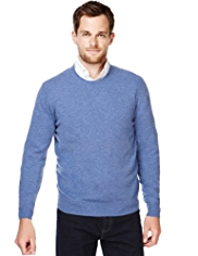 2in Longer Blue Harbour Luxury Wool Rich Crew Neck Jumper with Cashmere