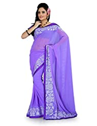Designersareez Women Faux Georgette Embroidered Light Purple Saree With Unstitched Blouse(887)