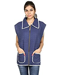 Rajrang Womens Cotton Blue & White X-Large Jacket