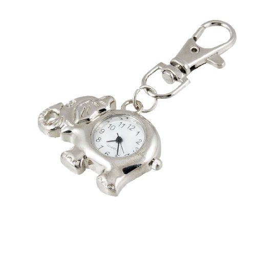Elephant Shaped Arabic Number Round Dial Watch Key Ring Keychain front-1052744