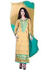 styllaz creation YELLOW cotton chanderi embrodaired dress maerial