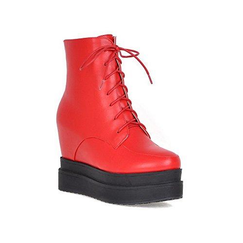 AgooLar Donna Punta Tonda Tacco Alto Bassa Altezza Puro Stivali, Rosso, 39