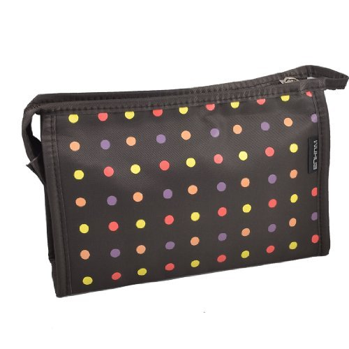 FOREVER YUNG Travel Polka Dot Zipper Make up Cosmetic Bag Pouch Brown w Mirror friends forever
