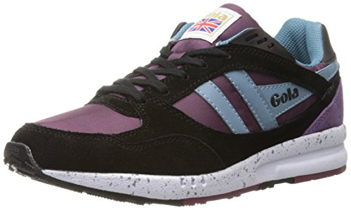 Gola Women's Shinai CLA706 Fashion Sneaker, Purple/Black/Flint, 8 M US