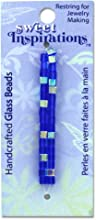 35 Blue Cube Glass Beads 24 Pieces - 35 Small Blue Cube Glass Beads Measuring 18quot Each