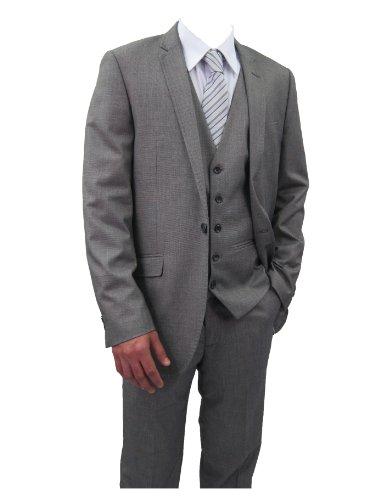 Marc Darcy Designer NX3 Mens Grey 3PC Suit, Jacket 40
