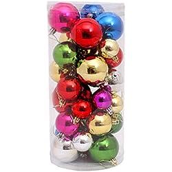 Bigood 36pcs Christmas Tree Balls Plastic Holiday Baubles Ornaments Mixed Color