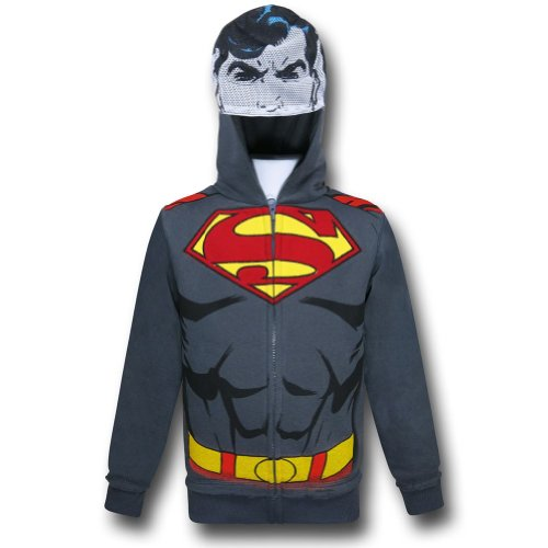 Superman Grey Kids Caped Costume Hoodie w/Face