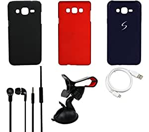 NIROSHA Cover Case Headphone USB Cable Mobile Holder for Samsung Galaxy ON5 - Combo