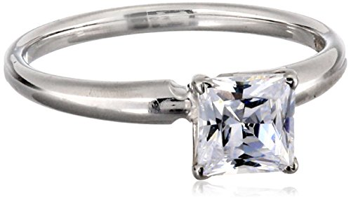 14k White Gold Princess-Cut Solitaire Ring, Made with Swarovski Zirconia (1 cttw), Size 6
