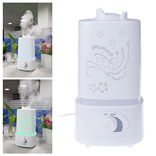 Lemonbest® 1.5L Led Ultrasonic Aroma Diffuser Carve Humidifier Aromatherapy Air Purifier Mist With 7 Auto Colors Changing And Mist Adjustment Mode