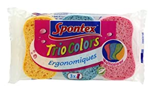 Spontex - Essuyage Eponges - Trio Colors x 3 - Lot de 3
