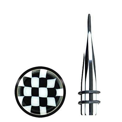 Tapers Checkerboard Black & White Acrylic Taper with Double O-rings Pair of 0G (8mm) Gauge – 2 Pieces  $0.99