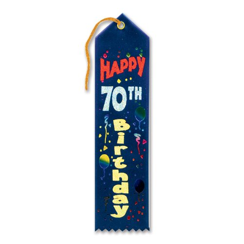 "Happy 70th Birthday Award Ribbon 2"" x 8"" Party Accessory"