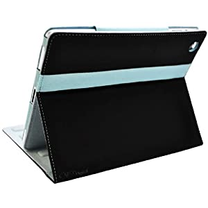 CrazyOnDigital 2-Tone Designer Leather Case Cover with stand for The New iPad - Side